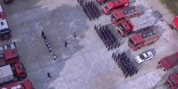 Πανοραμική φωτογραφία από τη ρουμάνικη πυροσβεστική δύναμη που επιχειρεί στην Ελλάδα