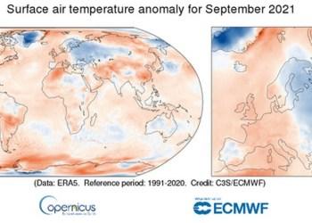 Σύμφωνα με το μηνιαίο κλιματικό δελτίο της Υπηρεσίας Κλιματικής Αλλαγής του Copernicus, ο Σεπτέμβριος του 2021 ήταν ένας από τους τέσσερις θερμότερους