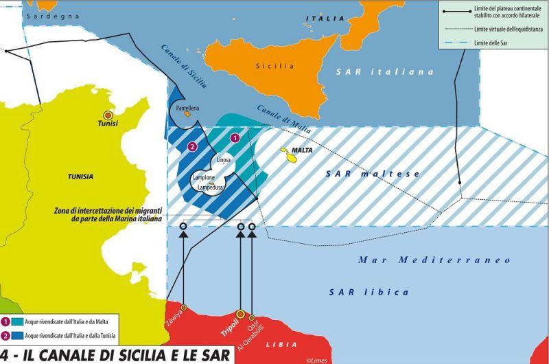 Sovrapposizione tra le zone Sar italiana e maltese