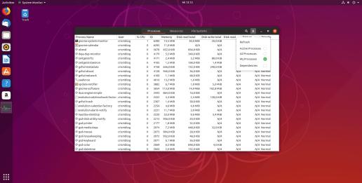 Ubuntu System Monitor - Processes Menu
