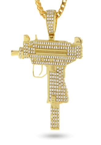 KING ICE 14K Gold Uzi Necklace