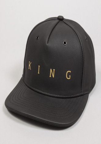 KING APPAREL Pitchford Pinch Panel Snapback Cap - Black Leather