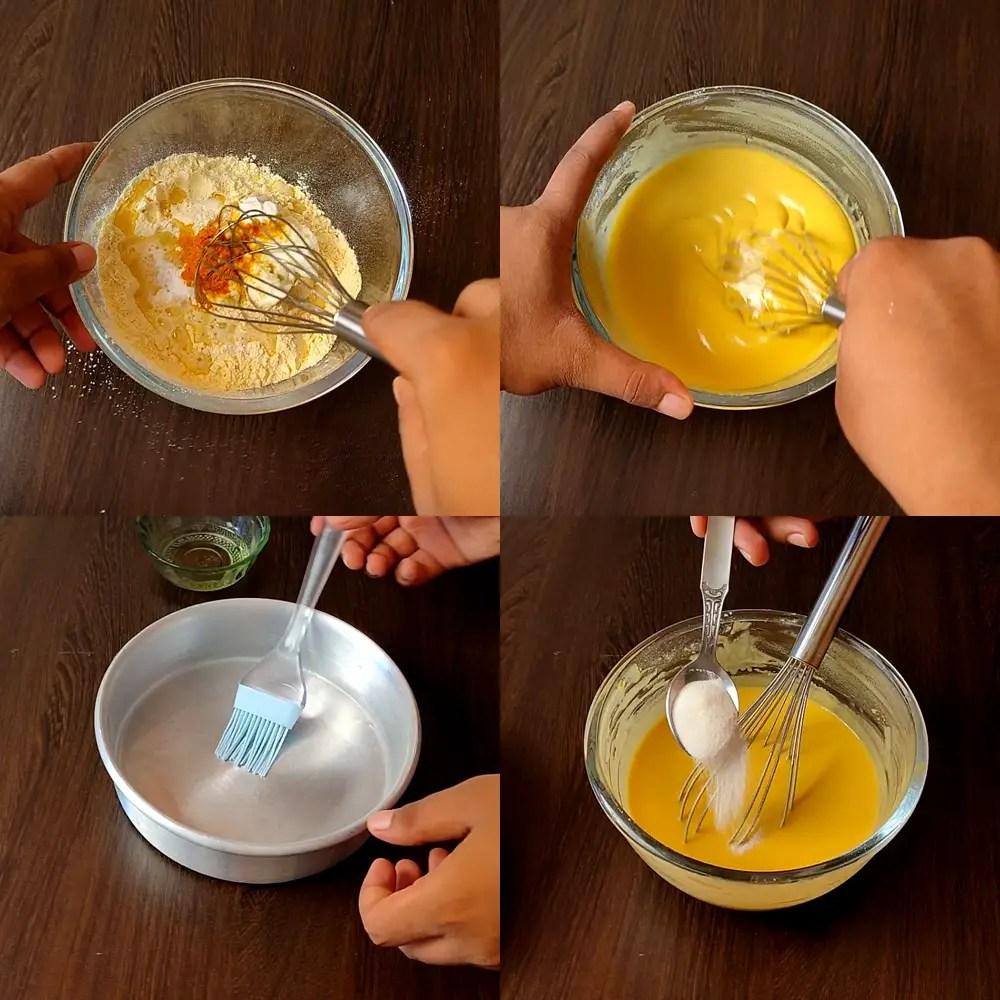 Mix the Baking Soda at dhokla Batter