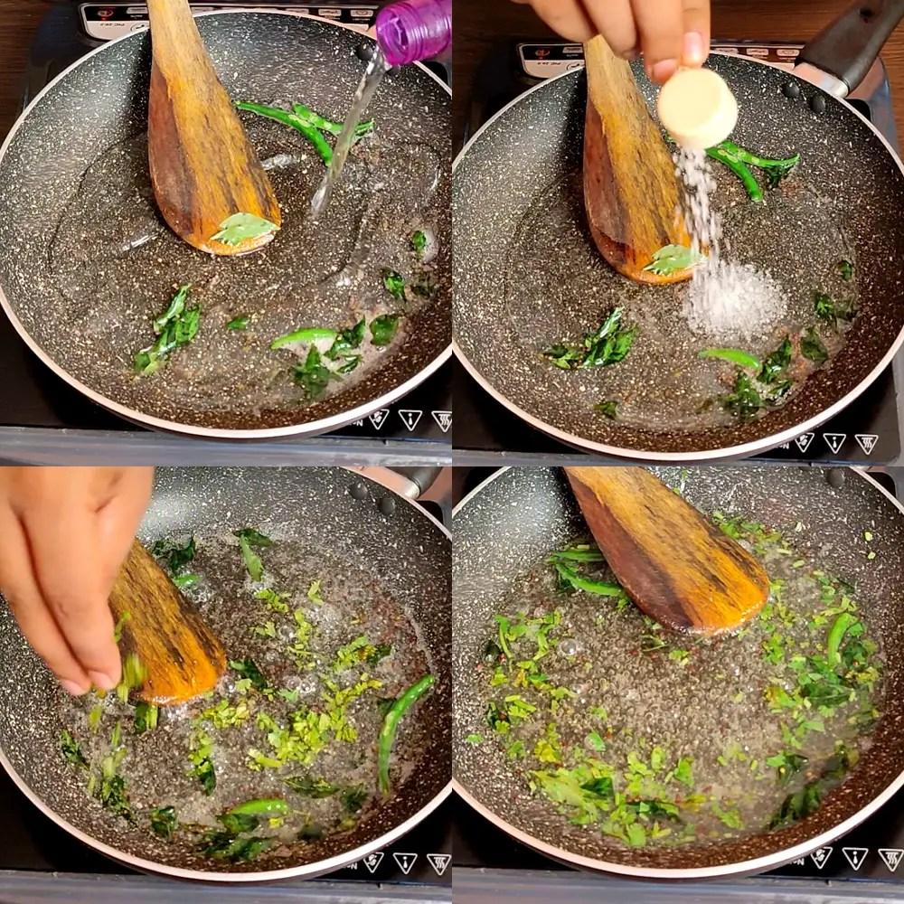 preparation of Dhokla Chutney