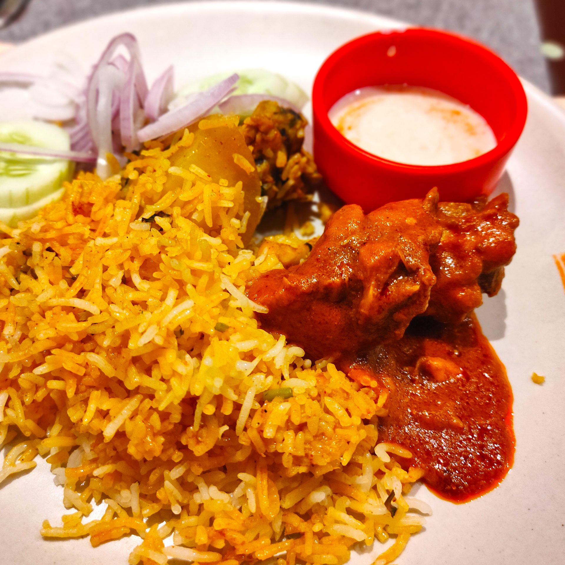BBQ Nation - CHICKEN DUM BIRYANI, KADHAI CHICKEN, Green Salad, Raita