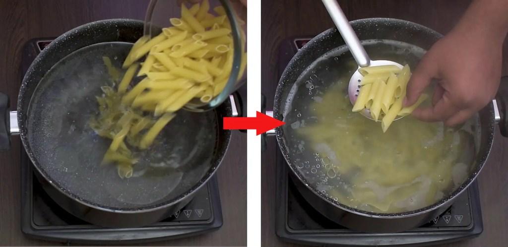 boil pasta till al dente