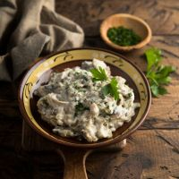 Mushroom Stew with Cream and Parsley