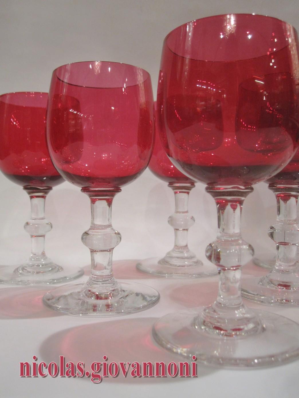 8 Verres Vin Blanc Cristal Rouge BACCARAT Cristal