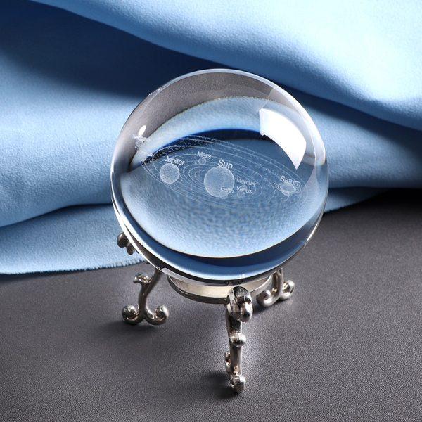 System Solaire Boule Cristal Laser 3D gravee