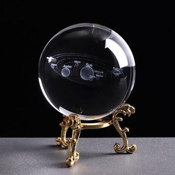 Soleil Boule Cristal 3D Laser Or