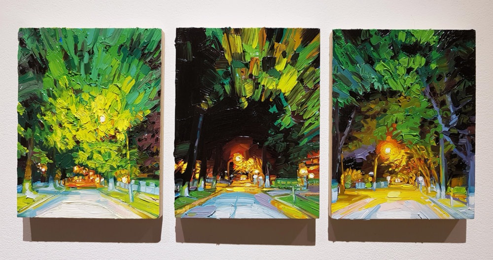 Mara Korkola, No Place 423, oil on panel, triptych, landscape, Elissa Cristall Gallery