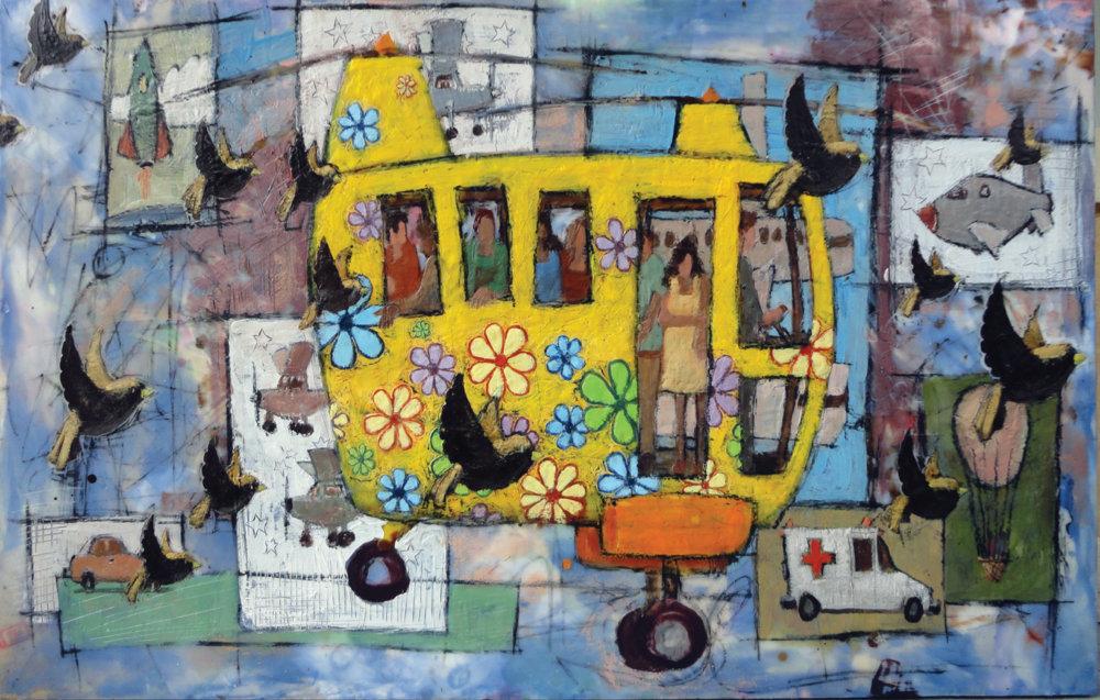 Bruce Turnbull, contemporary art, outsider art, encaustic, superheros, Vancouver, Elissa Cristall Gallery