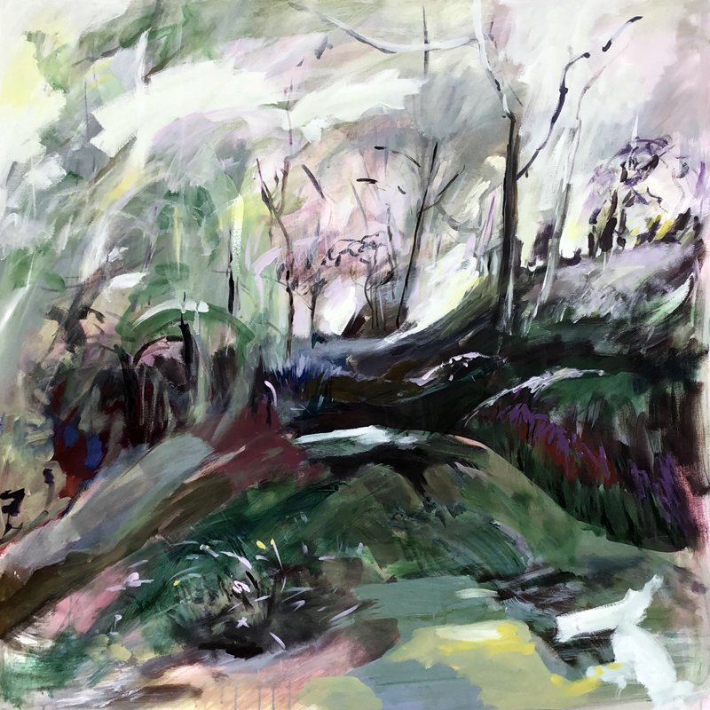 Lesley Finlayson, filter/ed #1, impressionist landscape, acrylic on canvas, 48 x 48 inches-Elissa Cristall Gallery