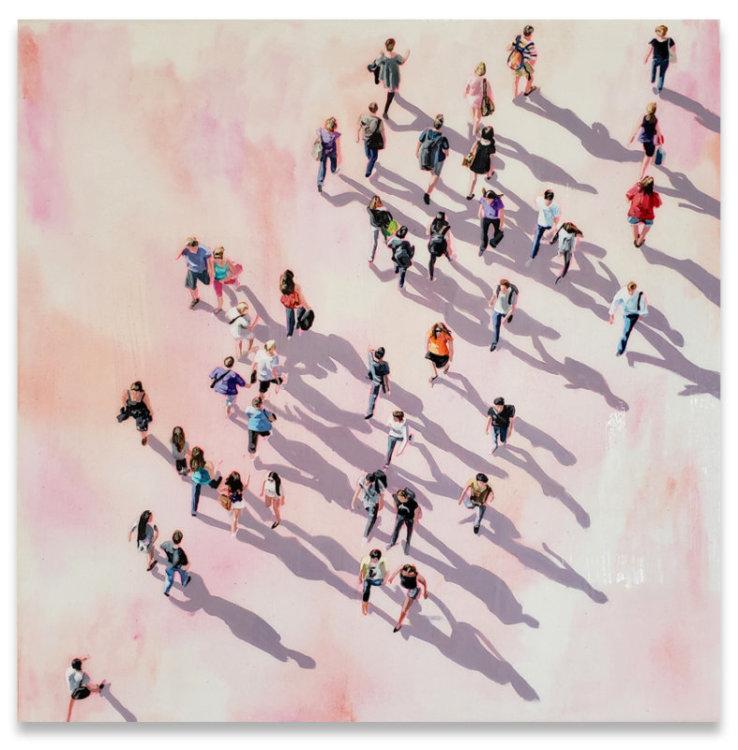 "Sara Caracristi, Urban Life, acrylic on canvas, 24"" x 24"", Elissa Cristall Gallery"