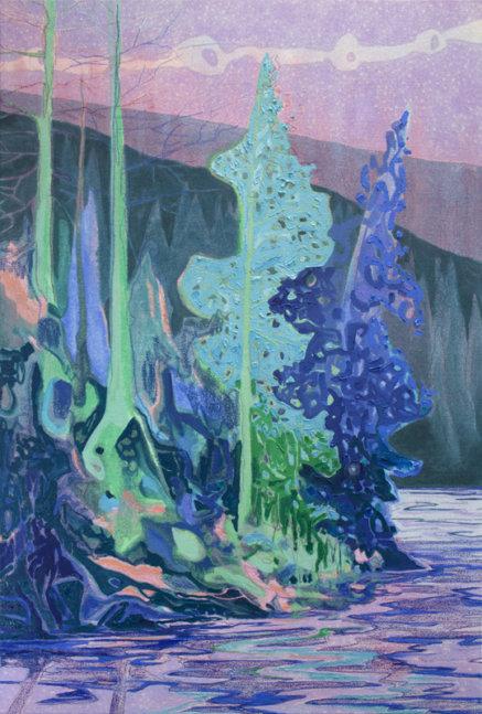 "Kyle Scheurmann, Memory Island, landscape painting, 36"" x 30"""