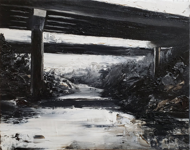 "Jeroen Witvliet, Bridge, oil on canvas, 8"" x 10"", Elissa Cristall Gallery"