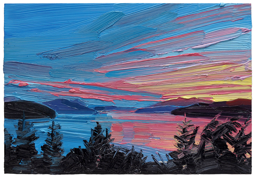 "Mara Korkola, Landscape - No Place #484, oil on panel, 8"" x 11.5"""