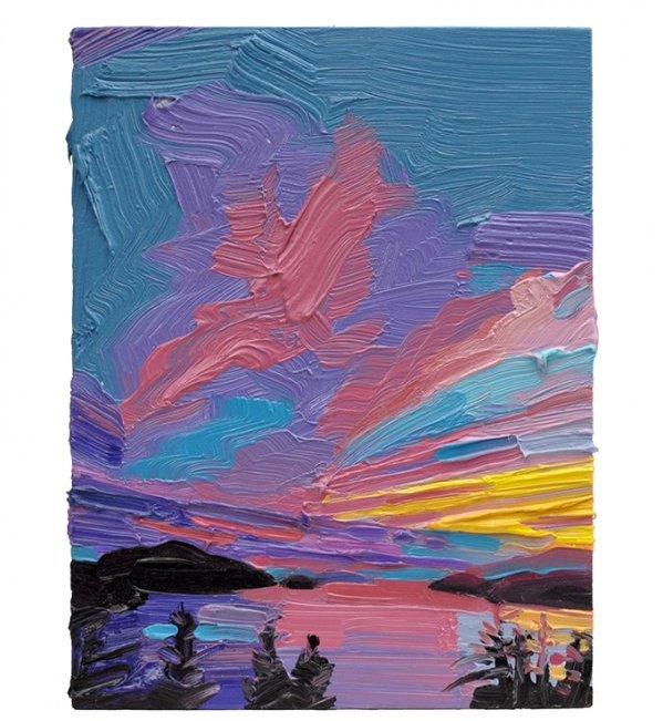 "Mara Korkola, No Place #486, oil on panel, 8"" x 6"""