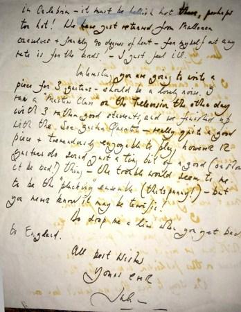 Lettera di Julian Bream a Smith-Brindle