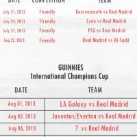 Real Madrid Schedule for 2013/14 Pre Season