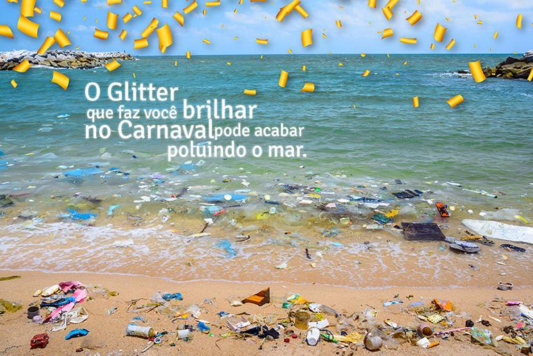 Microesferas de plástico no glitter polui o mar