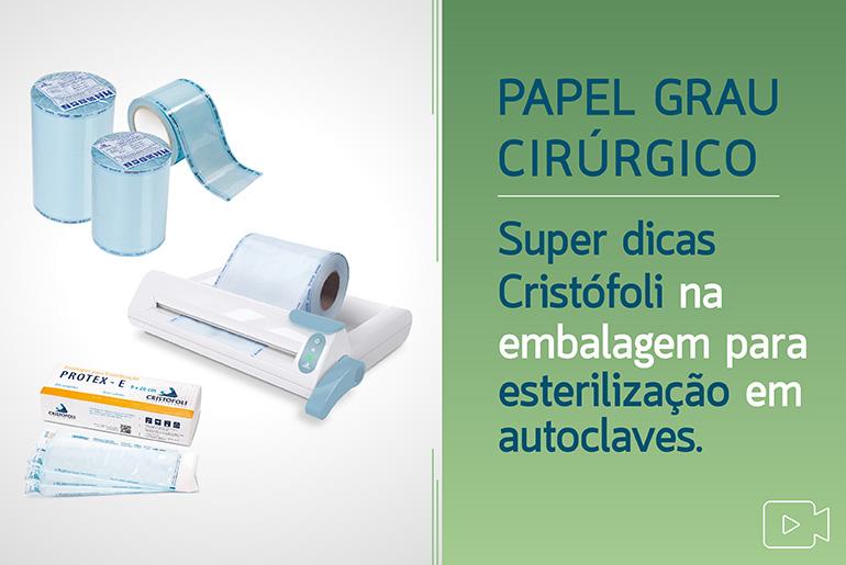 CVPGCSP - Capa Video Papel Grau Cirúrgico Super Dicas Dicas Cristófoli na Embalagem para esterilização