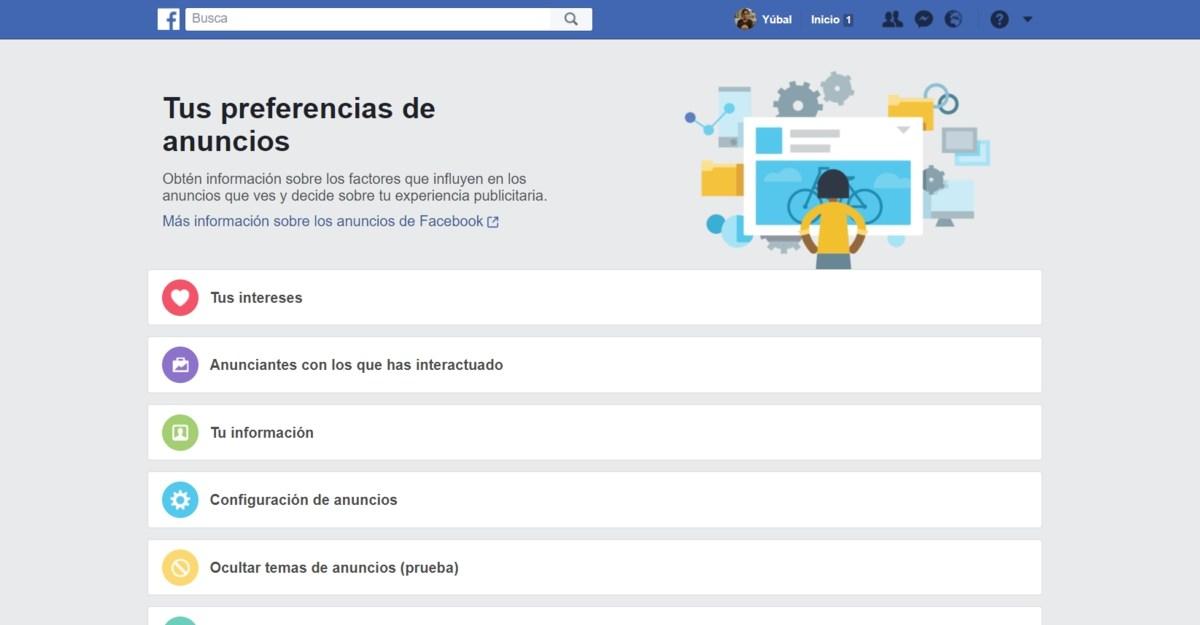 Como definir que tipos de anuncios ves en Facebook