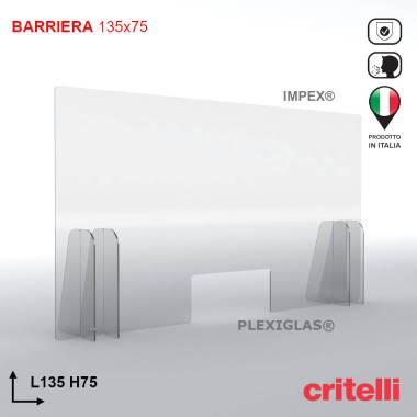 Barriera parafiato con schermo trasparente 135x75
