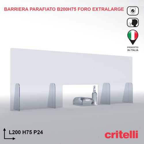 Barriera parafiato trasparente antiurto 200X75 foro extralarge