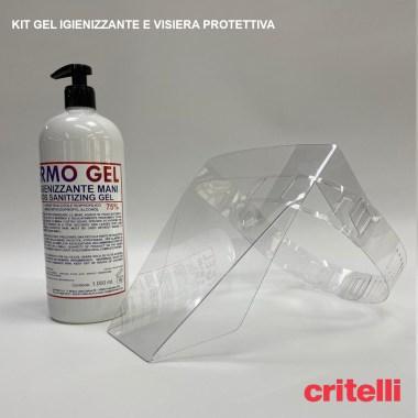 kit gel igienizzante visiera protettiva sicurezza schermo facciale