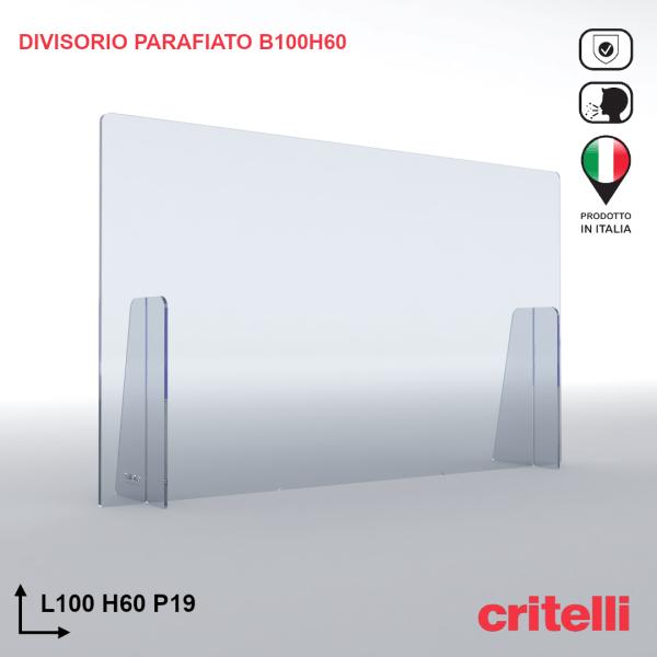 Divisorio barriera parafiato antiurto separè trasparente 100X60S3