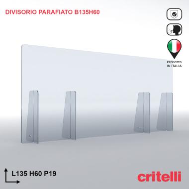 Divisorio barriera parafiato antiurto separè trasparente 135X60S3