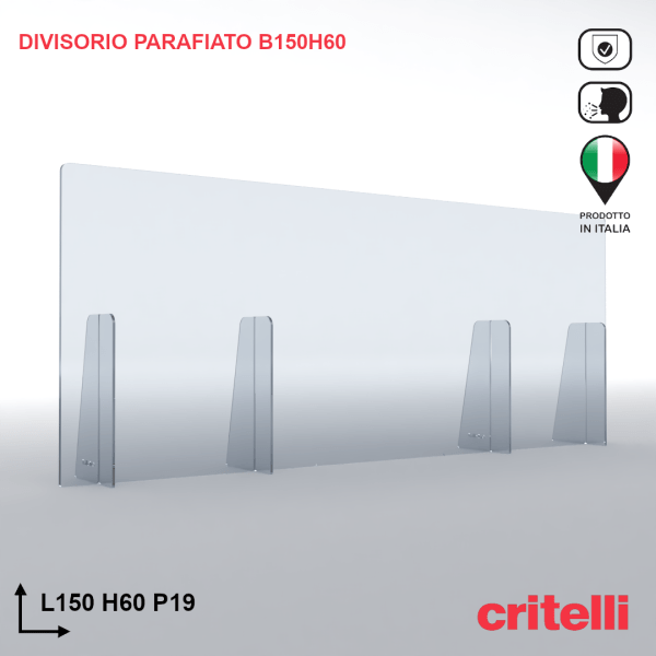 Divisorio barriera parafiato antiurto separè trasparente 150X60S3