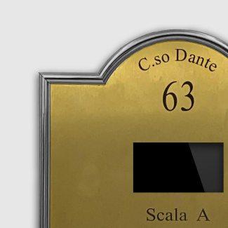 Pulsantiera citofono ottone con bordo in rilievo cromato