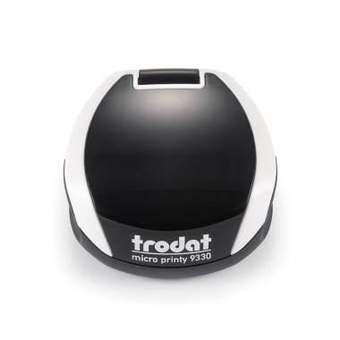 Timbro Autoinchiostrante Tascabile Trodat Micro Printy 9330 compreso di Impronta Laser in Gomma Rotonda D 30 mm bianco
