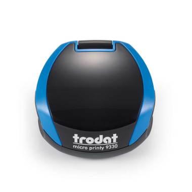 Timbro Autoinchiostrante Tascabile Trodat Micro Printy 9330 compreso di Impronta Laser in Gomma Rotonda D 30 mm blu nero