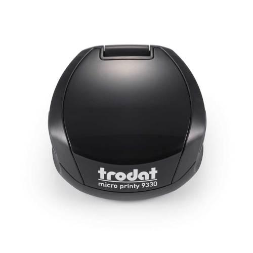 Timbro Autoinchiostrante Tascabile Trodat Micro Printy 9330 compreso di Impronta Laser in Gomma Rotonda D 30 mm nero
