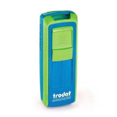 Timbro Autoinchiostrante Tascabile Trodat Pocket Printy 9512 Nero-Verde compreso di Impronta Laser in Gomma 47 x 18 mm