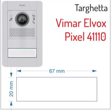 targhetta citofono pulsantiera vimar elvox pixel 41110