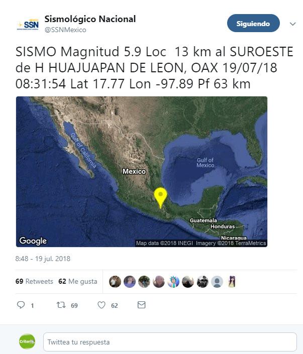 Reportan sin afectaciones tras sismos en Coalcomán, Michoacán