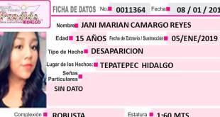 Se busca a Jani Marian Camargo Reyes de 15 años