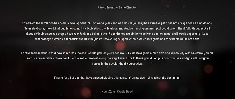Homefront The Revolution credits message