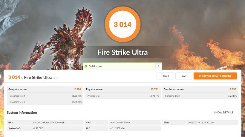 GTX 1060 Review FireStrike Ultra