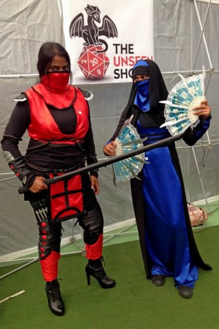 Letitia as Skarlet and Zainub as Kitana.