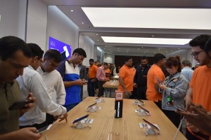 Crowd checking out the Smartphones at the Xiaomi 2nd Store opening in City Center Deira -1