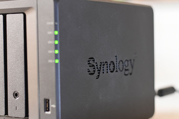 Synology-perforated-Logo design helps with Air circulation to cool the Hard Drives