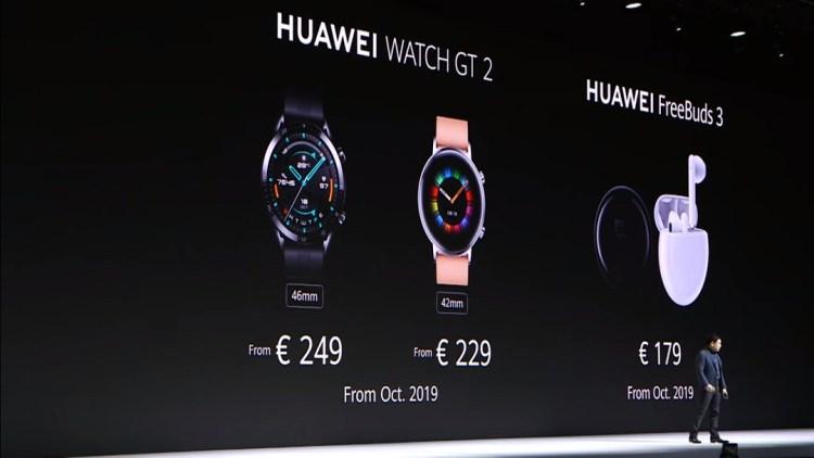 Huawei GT2 & Freebuds 3 price