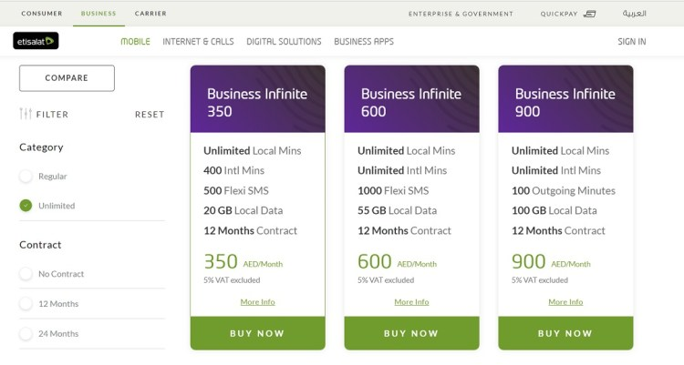 Etisalat-Business Infinite plan UAE
