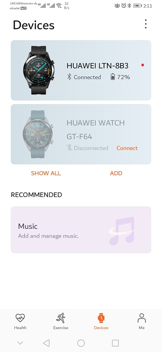 Huawei GT2-Watch on Health App
