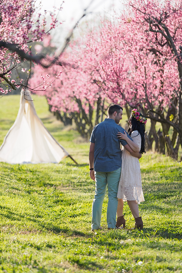 Peach Orchard Spring Engagement Session Maria And Dino